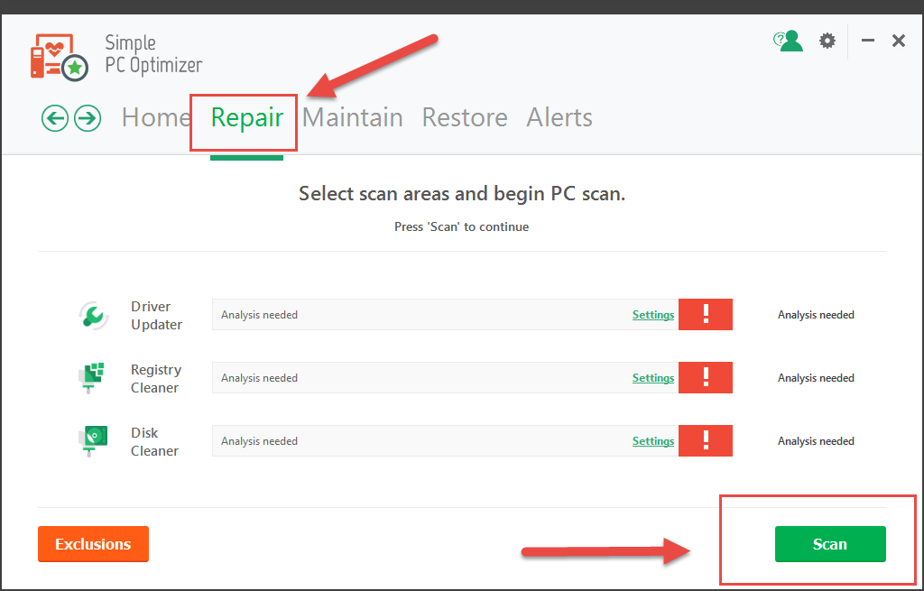 Scan for Repairs using Simple PC Optimizer